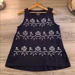 LOFT Vintage Soft Navy Top w/ Floral Embroidery